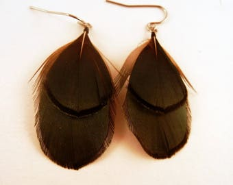 Short Natural Jade Feather earrings