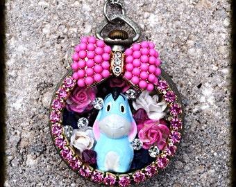 Eeyore Vintage pocket watch case art collage Swarovski Crystal necklace