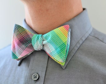 Men's Bow Tie in Plaid- freestyle wedding groomsmen custom bowtie neck self tie cotton madras pink green yellow blue red