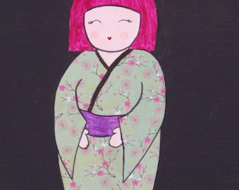 KOKESHI 3 - acrylic on canvas frame