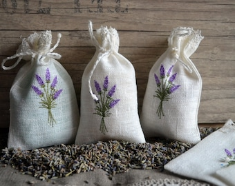 Linen Lavender Bags With Lavender Embroidery Gift Bags