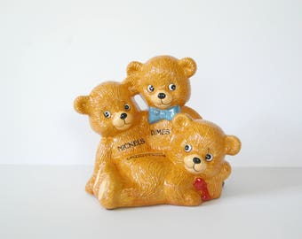 Vintage Bear Bank, Trio of Bears, Three Coin Slots, Dimes, Quarters, Nickels