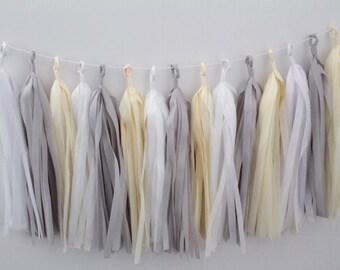 Tissue Tassel Garland 20 Tassels. Neutral Cream, Grey and White