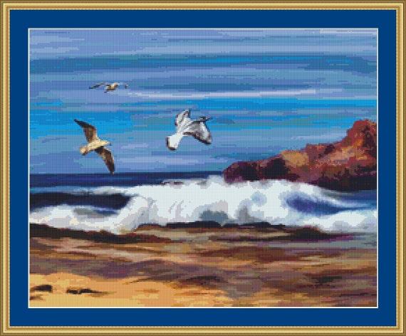The Ocean Cross Stitch Pattern /Digital PDF Files /Instant downloadable