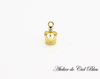 Tiny Crown Charm, Small Crown Charm, Tiny Gold Crown Charm, Mini Gold Crown Charm, Tiara Charm, Crown Jewelry
