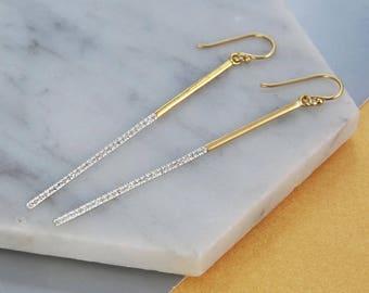 Long Earrings, Gemstone Drop Earrings, Long Gold Drop Earrings, Thin Earring, White Topaz Earrings, Statement Earrings, Modern Gold Earrings