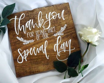 Thank You Wedding Sign | 12x12 Wood Sign | Hand Lettered Rustic Wedding Decor | Table Decor