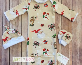 Christmas baby gown, knot hat, and no scratch mittens, newborn set, gender neutral