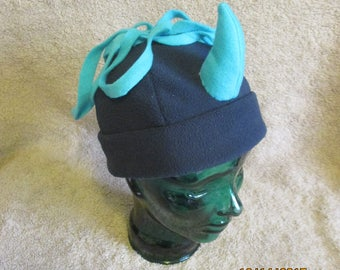 Navy/Turquoise Monster  Hat - CHILD sized