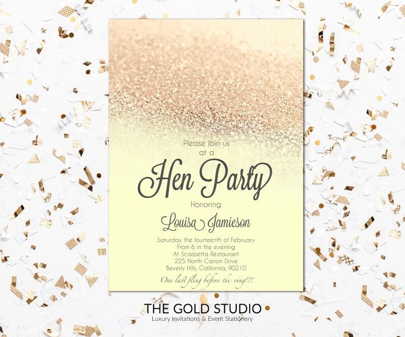 Yellow & Gold Glitter Hen Party Invitation | Modern elegant gold hen ...