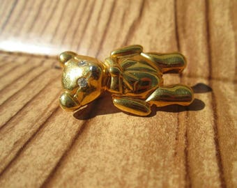 Vintage Anne Klein Teddy Bear Gold Tone Pin | Cute Animal Brooch | Gift for Her