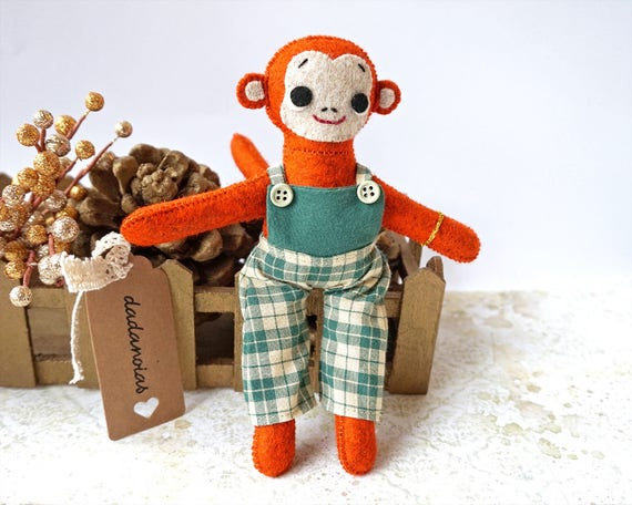 Monkey Handmade | Monkey | Animal Toy | Monkey Toy for kids | Monkey Plush | Birthday Gift | Monkey Art | Wool Felt Toys l | Handmade