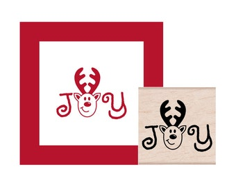 Joy Reindeer Rubber Stamp