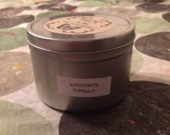 Lavender Vanilla 16 ounce Large Tin Soy Candle