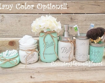 Mason Jar Bathroom Set-Bathroom Decor-Housewarming Gift-Bathroom Set-Mint-