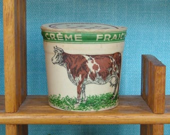 Vintage 1950s French Illustrated Waxed Cardboard Creme Fraiche Pots in Original Unused Condition