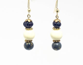 Beaded Earrings Cream Blue Berry Drops