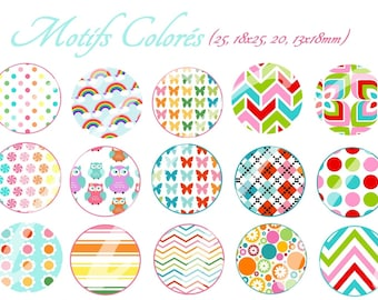 60 digital images for cabochon. colored pattern