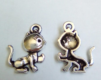 5 charms cats silver 20x15mm