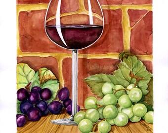Wine on the Shelf - graphic vignette grapes wine glass still life food illustration