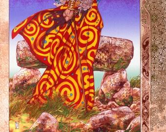 "Celtic Irish Fantasy Art BREAS THE BEAUTIFUL 23x16""."