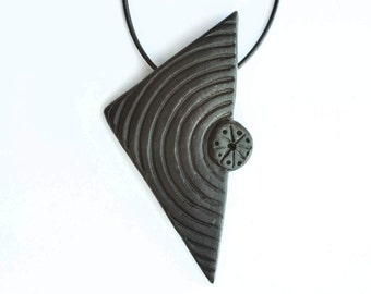 Black Goth Ceramic Geometric Necklace