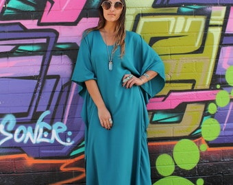 RESERVED for KATIE Gypsy Eyes Lady of the CANYON Teal Turquoise Caftan Boho Maxi
