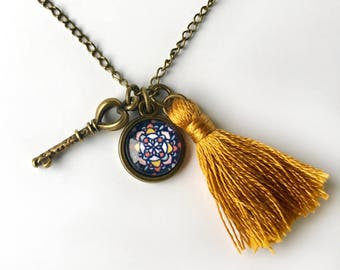 Mosaic Pendant, Tassel and Key Charm Necklace, Mosaic Jewelry