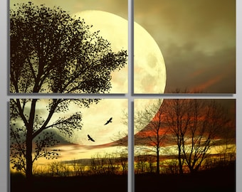 Metal Prints - Full Moon behind a tree -4 Panel split (Quad) - Multi panel Metal wall art HD aluminum prints for wall decor, interior design