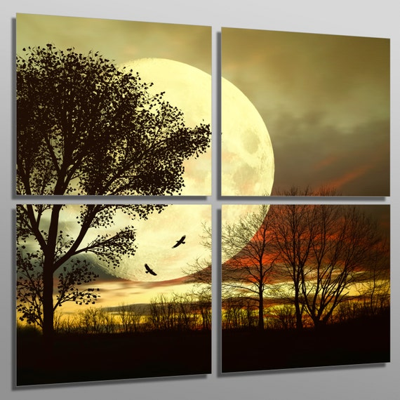 Metal Prints Full Moon behind a tree 4 Panel split Quad