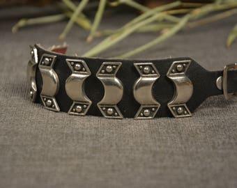 Rocker bracelet - Vintage black bracelet -  Black leather bracelet - Rocker accessories - Motorcycle clothing - Gift idea - Biker fashion