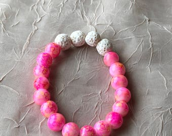 Essential Oil Diffuser Bracelet Pink Varigated Beads and Lava Stone Beads great for kids and adults