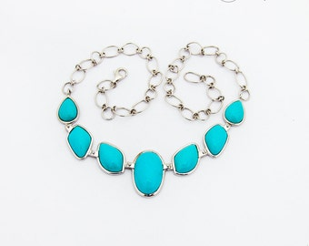 Bright Blue Cabochons Turquoise Imitation Necklace Sterling Silver