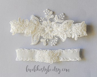 Wedding Garter Set, Ivory Embroidery Flower with Ruffle Elastic Garter Set,Ivory Garter Set, Prom  Garter Belt-1819