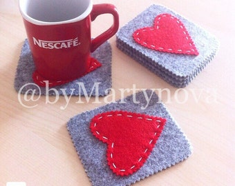 Valentines Set of coasters. Handmade Felt Coasters. Handmade gift. Original gift. Felt heart. Ready to ship.
