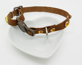 Cat brown leather adjustable necklace, amber clasp for security and rhinestones