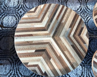Reclaimed Wood Lath Round Coffee Table