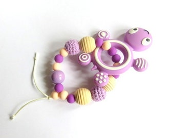 Purple Pearl turtle silicone teether/toy rattle