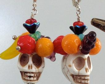 Carmen Miranda Skull Earrings Fruit topped Skull Earrings, Sugar Skull, Day of the Dead, Funky Skull Earrings