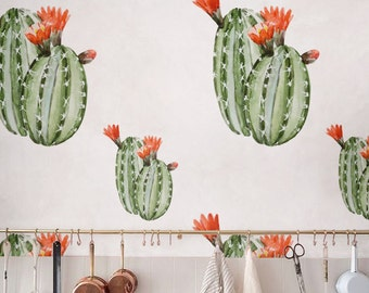 Watercolor Cactus Temporary vinyl Wallpaper, Removable Self-adhesive, Floral Wall Décor, peel and stick Wallcovering - JW_111
