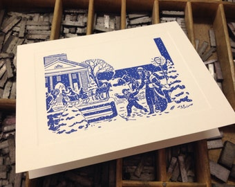 """Letterpress Christmas Cards """"Winter Scene"""" - Set of 10 cards with matching envelopes"""