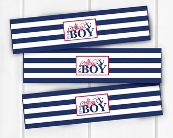 Nautical Water Bottle Labels, Ahoy It's A Boy Water Bottle Labels, Baby Shower, Nautical Baby Shower Decorations, Decor, Item 205