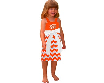 Orange + White Chevron Dress- Girls