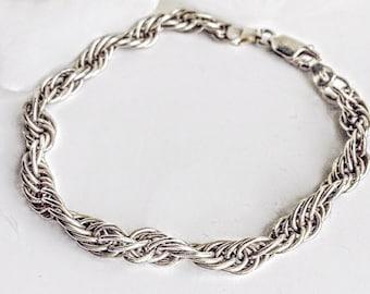 Vintage Jewelry, Vintage Sterling Silver Bracelet, Sterling Silver Chain Link Bracelet,Silver Chain Link Bracelet, Sterling Silver Bracelet