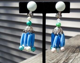 Vintage Beaded Earrings JAPAN marked clip on