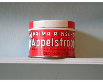 """Old tin, metal, red/beige, from Holland: """"Appelstroop"""""""