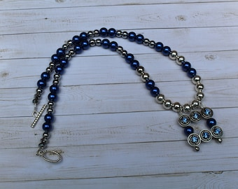 Royal blue faux pearl and silver beaded