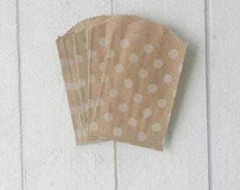 25 Mini Flat Kraft Polka Dot Bags