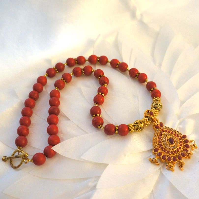 Red Ruby Beads: Howlite Bead Necklace With Red Ruby Colour Stone Pendant