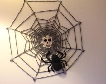 Halloween crochet decoration, Spider decoration, cobweb knitted wall decoration